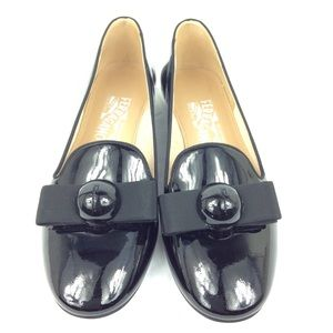 Salvatore ferragamo patent bow loafers